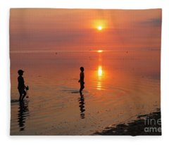 Young Fishermen At Sunset Fleece Blanket