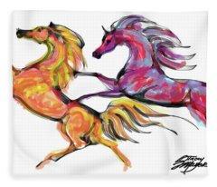 Young Horses Playing Fleece Blanket