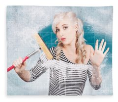 Young Housewife Cleaning Glass Shower Door With White Soap Suds  Fleece Blanket
