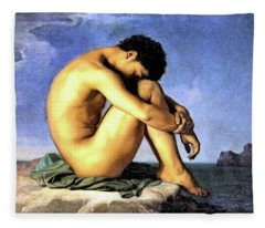 Young Man By The Sea Fleece Blanket