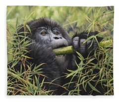 Young Mountain Gorilla Fleece Blanket