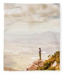 Young Traveler Looking At Mountain Landscape Fleece Blanket