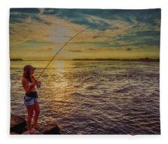 Young Woman Fishing Fleece Blanket