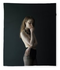 Young Woman In Pantyhose Fleece Blanket