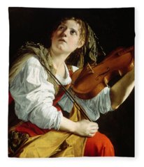 Young Woman With A Violin Fleece Blanket