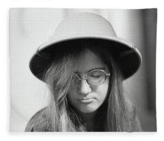Young Woman With Long Hair, Wearing A Pith Helmet, 1972 Fleece Blanket