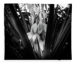 Yucca In The Woods In Black And White Fleece Blanket