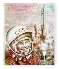 Yuri Gagarin - Cosmonaut 1961 Watercolor Fleece Blanket