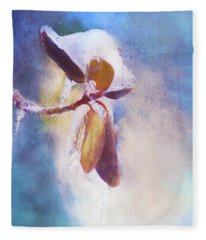 Winter Abstract - Snow And Ice On Rhododendron Leaves Fleece Blanket