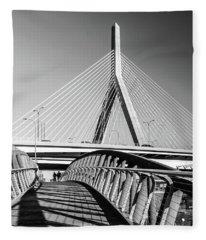 Zakim Bridge And Walkway Boston, Ma Fleece Blanket