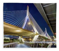 Zakim Bridge From Bridge Under Another Bridge Fleece Blanket
