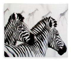 Zebra And Giraffe Fleece Blanket