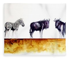 Zebra And Wildebeest Fleece Blanket