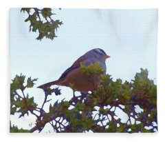 White Crowned Sparrow In Cedar Fleece Blanket