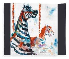 Zebra Gets A Ride The Ocean City Boardwalk Carousel Fleece Blanket