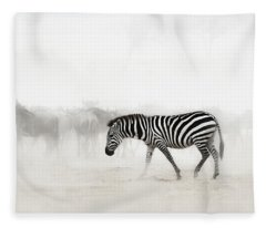Zebra In Dust Of Africa Fleece Blanket