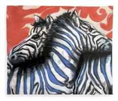 Zebra In Love Fleece Blanket