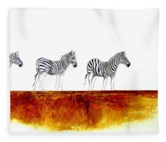 Zebra Landscape - Original Artwork Fleece Blanket