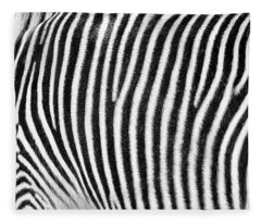 Zebra Print Black And White Horizontal Crop Fleece Blanket