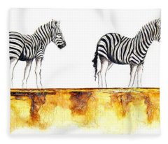 Zebra Trio - Original Artwork Fleece Blanket