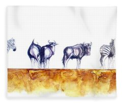 Zebras And Wildebeest 2 Fleece Blanket