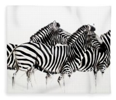 Zebras - Black And White Fleece Blanket