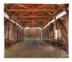 Sycamore Park Covered Bridge Fleece Blanket