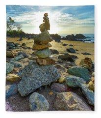 Zen Rock Balance Fleece Blanket