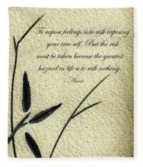 Zen Sumi 4m Antique Motivational Flower Ink On Watercolor Paper By Ricardos Fleece Blanket