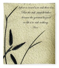 Zen Sumi 4n Antique Motivational Flower Ink On Watercolor Paper By Ricardos Fleece Blanket