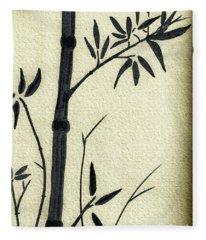 Zen Sumi Antique Bamboo 1a Black Ink On Fine Art Watercolor Paper By Ricardos Fleece Blanket