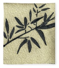 Zen Sumi Antique Botanical 4a Ink On Fine Art Watercolor Paper By Ricardos Fleece Blanket