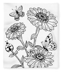 Zinnia And Butterflies Drawing Fleece Blanket
