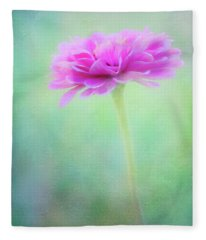 Painted Pink Zinnia Fleece Blanket
