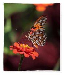 Zinnia With Butterfly 2668 Fleece Blanket