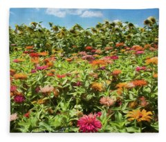Zinnias And Sunflowers Fleece Blanket