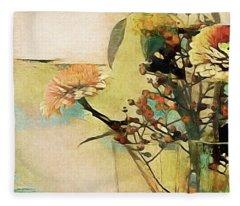 Zinnias From The Garden Fleece Blanket