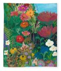 Zinnias Garden Fleece Blanket