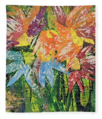 Zinnias Gone Mad Fleece Blanket