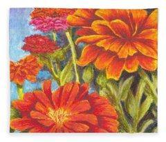 Zinnias Fleece Blanket