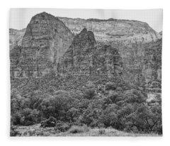 Zion Canyon Monochrome Fleece Blanket