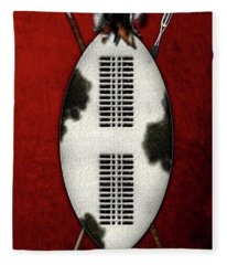 Zulu War Shield With Spear And Club On Red Velvet  Fleece Blanket