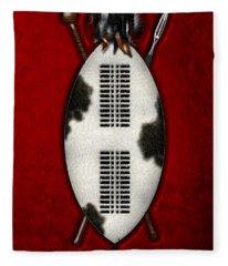 Zulu War Shield With Spear And Club Fleece Blanket