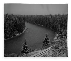 A View From The Side Of The Bow Valley Parkway, Banff National P Fleece Blanket