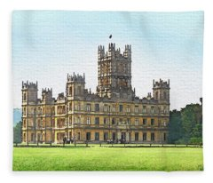 A View Of Highclere Castle Fleece Blanket