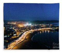 Aberystwyth At Night From The Air Fleece Blanket