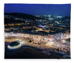 Aberystwyth Wales At Night From The Air Fleece Blanket