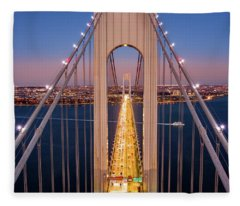 Aerial View Of Verrazzano Narrows Bridge Fleece Blanket