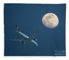Airliner And Full Moon Fleece Blanket