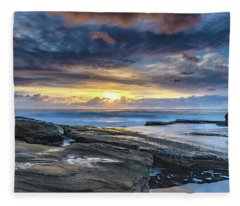 An Atmospheric Coastal Sunrise Fleece Blanket